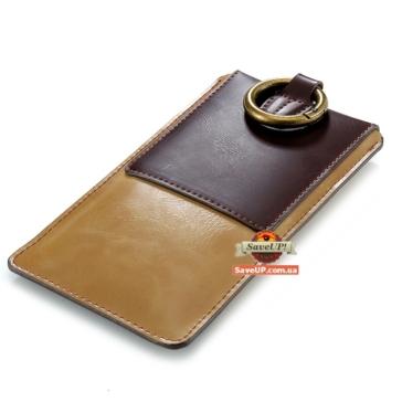 """Универсальный чехол-кошелек на пояс для телефона до 5,5"""" FLOVEME коричневый"""