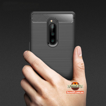 TPU чехол для Sony Xperia 1 Carbon Fiber черный