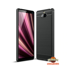 TPU чехол для Sony Xperia 10 / 10 plus Carbon Fiber черный