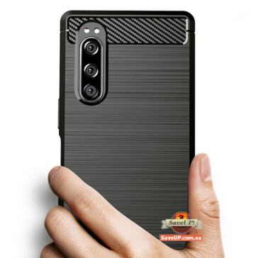 TPU чехол для Sony Xperia 5 Carbon Fiber черный
