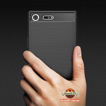 Карбоновый TPU чехол для Sony Xperia XZ Premium G8142 черный