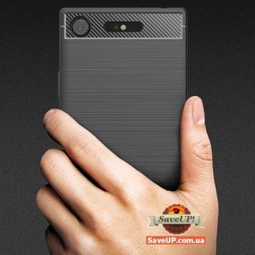 TPU чехол для Sony Xperia XZ1 G8342 Carbon Fiber черный